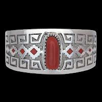 Navajo Silver & Coral Bracelet by Tommy Jackson