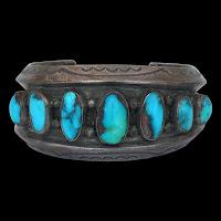 1960's Natural Gem Grade Bisbee Turquoise Heavy Gauge Silver Bracelet
