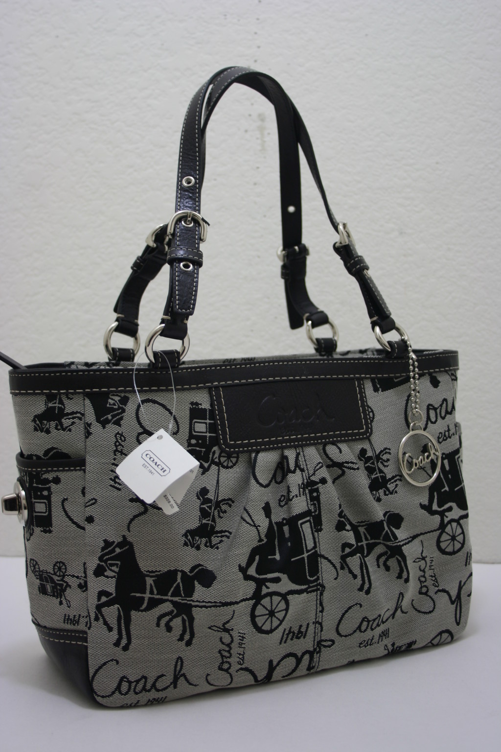 24c7178510 ... promo code coach horse carriage pleated east west gallery tote shoulder  bag 14629 e8c37 bd6ec