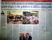 En 1879 Chile apetecía el salitre y guano, y ahora quiere el gas...