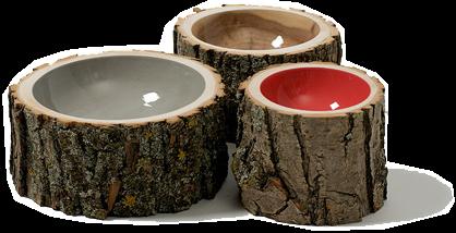 Architettura take away ciotole dai tronchi d 39 albero for Tronco albero arredamento