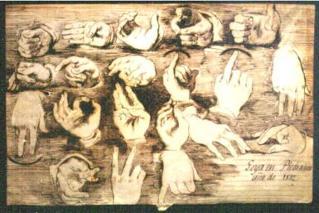 Lámina de Goya sobre el alfabeto dactilológico