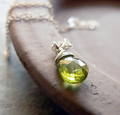 handmade peridot necklace