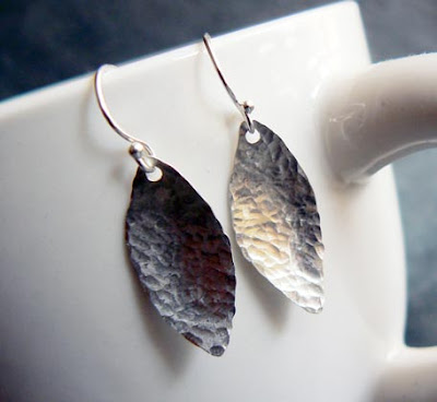 handmade leaf earrings