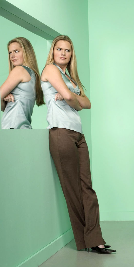 maggie lawson - light green satin top