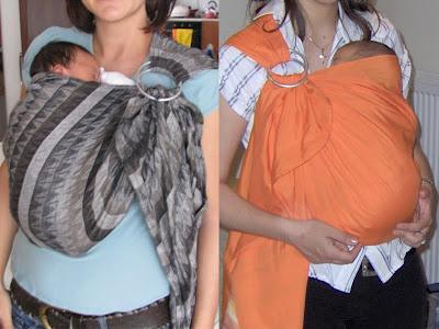 Νεογέννητα μωράκια σε όρθια στάση σε μάρσιπο αγκαλιάς σλινγκ