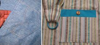 Τσέπη με τα σχέδια που κάνουν οι τσέπες στα τζην παντελόνια ή τσέπη με γύρισμα και ξύλινο κουμπί!