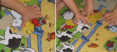 Παιδικά χεράκια συναρμολογούν τα κομμάτια του παζλ!