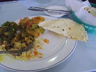 plate of vegetarian food at Taj Mahal
