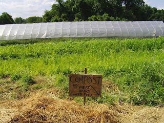 compost sign which says no meat no dairy