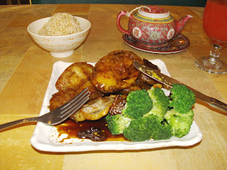 dish of crispy eggplant with broccoli