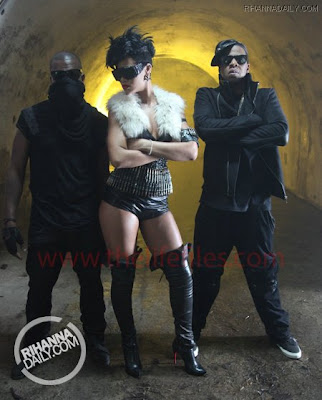 ri1 Jay Z, Rihanna & Kanye West On The Set Of Run This Town Video