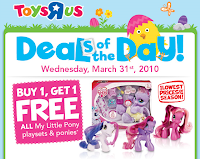 tru My Little Pony: 2 Free At Toys R Us   3/31 Only!