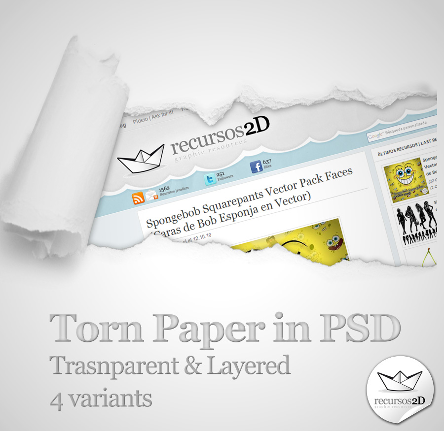 Plantilla PSD de papel rasgado (Torn Paper PSD Template)