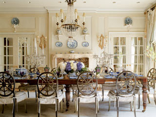 Old Empire Style Crystal Chandelier Antique Brass Wall Sconces And Candelabras Make A Set Formal Tone In This Dining Room