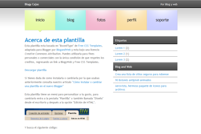 Cajas blogger template