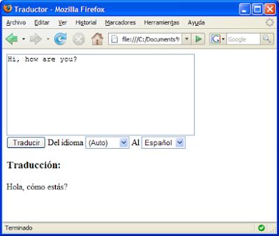 Interfaz del traductor