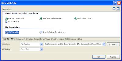 Crear nuevo proyecto seleccionando la plantilla MVCWebSite