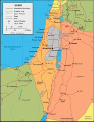 Map of Israel and Palestine
