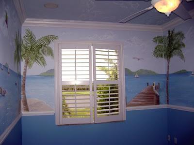 Beach Wall Murals on Tropical Beach Mural