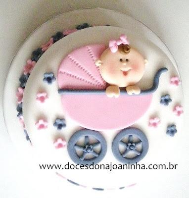 Bolo decorado chá de bebê com carrinho e bebê em relevo - vista da parte superior