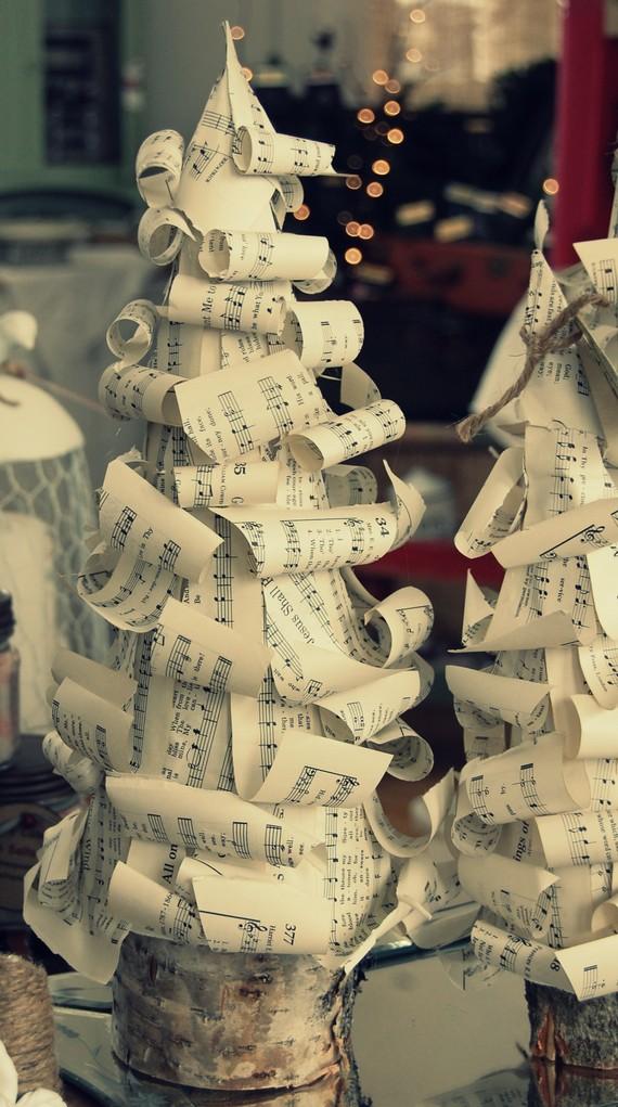 Twig vintage sheet music christmas tree tutorial for Vintage christmas craft supplies