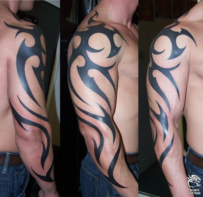 arm tribal tattoo pictures. upper arm tribal tattoo