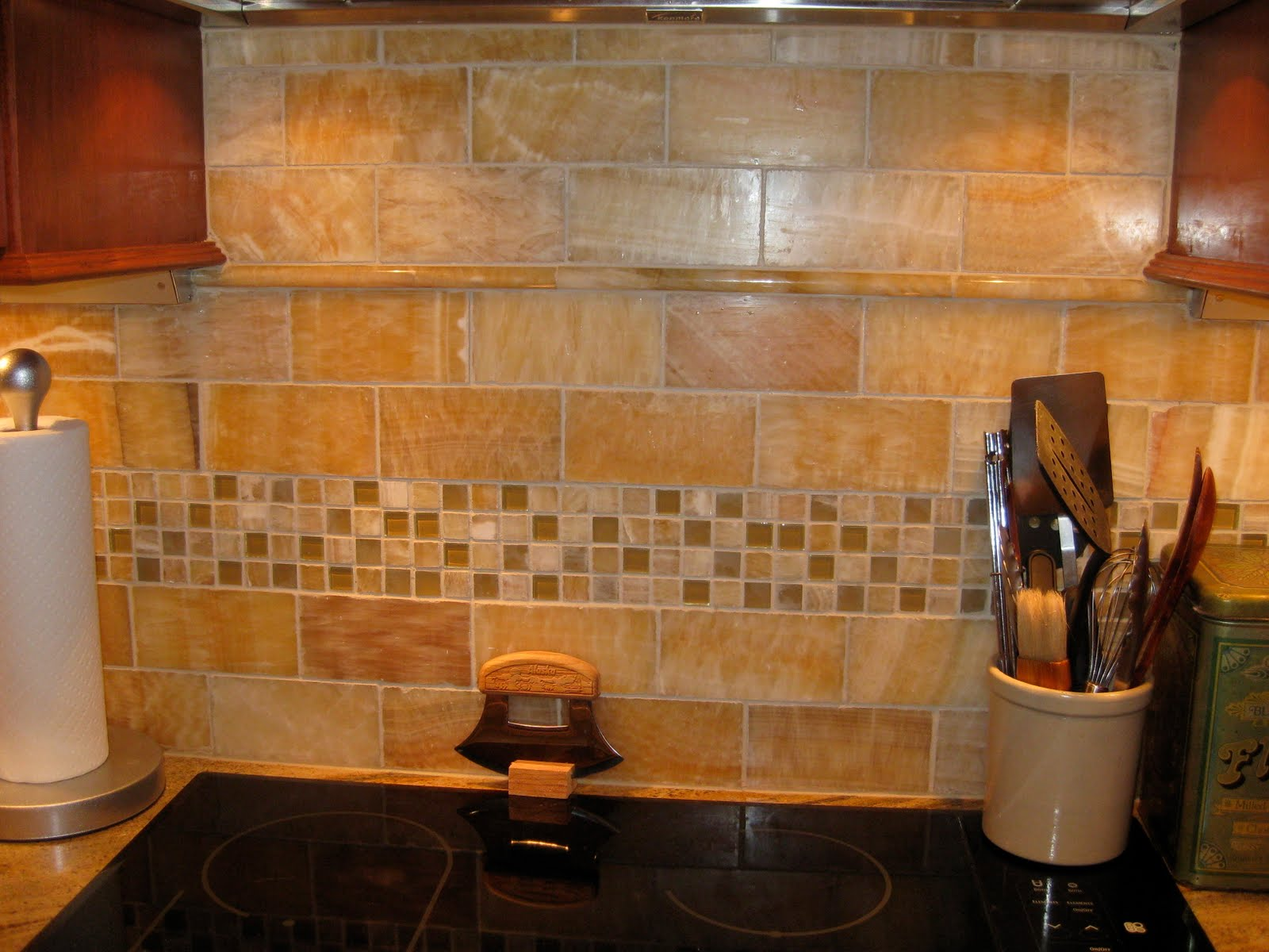 Kitchen with Tumbled Tile Backsplash