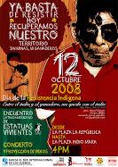 afiche de movimientos sociales para el día de la resistencia indígena