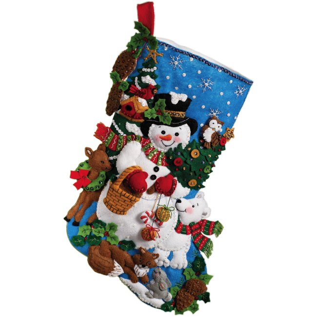 The Woodland Snowman Felt Stocking Kit is a new 2010 Christmas ...