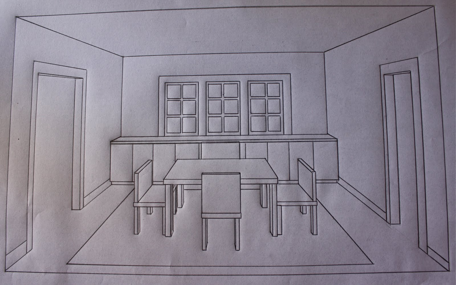 Dining room perspective drawing - Sketching And Perspective Drawing