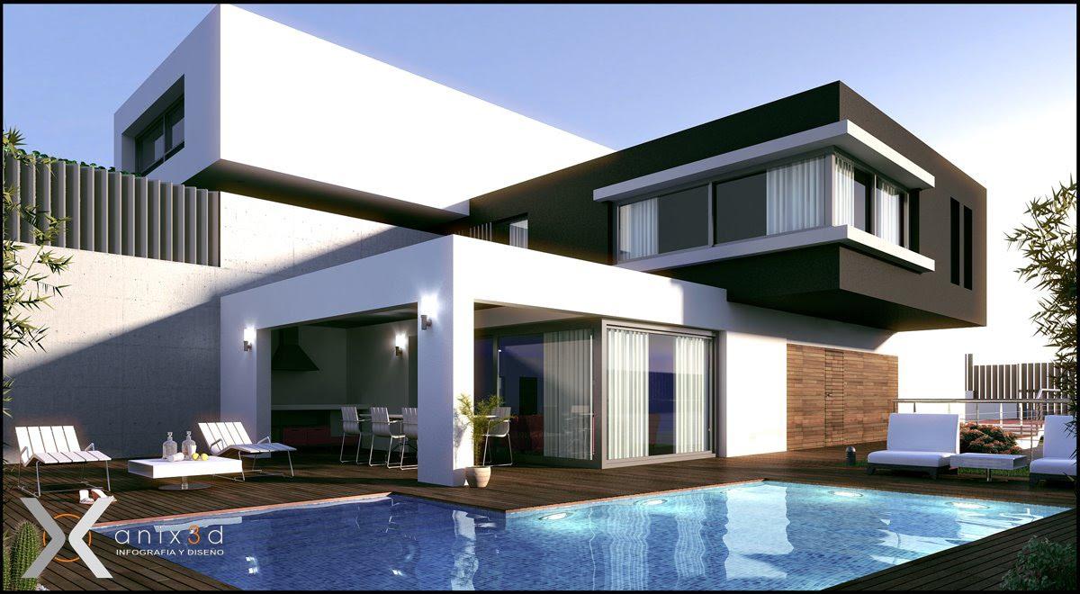 Dibujando en 2d y 3d ltimo trabajo casas modernas for Casa moderna por fuera