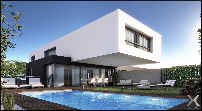 Dibujando en 2d y 3d ltimo trabajo casas modernas for Casas en 2d