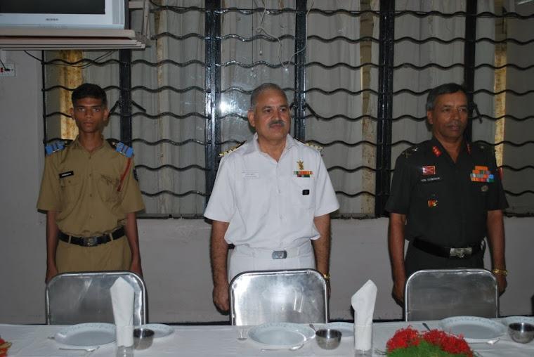Maj Gen VSS Goudar with Principal Captain(IN) Jatinder Kumar & School Captain Channappa S Kondaguli