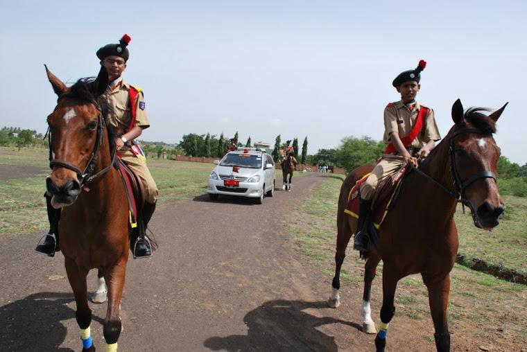 Major General VSS Goudar arrives escourted by mounted horses
