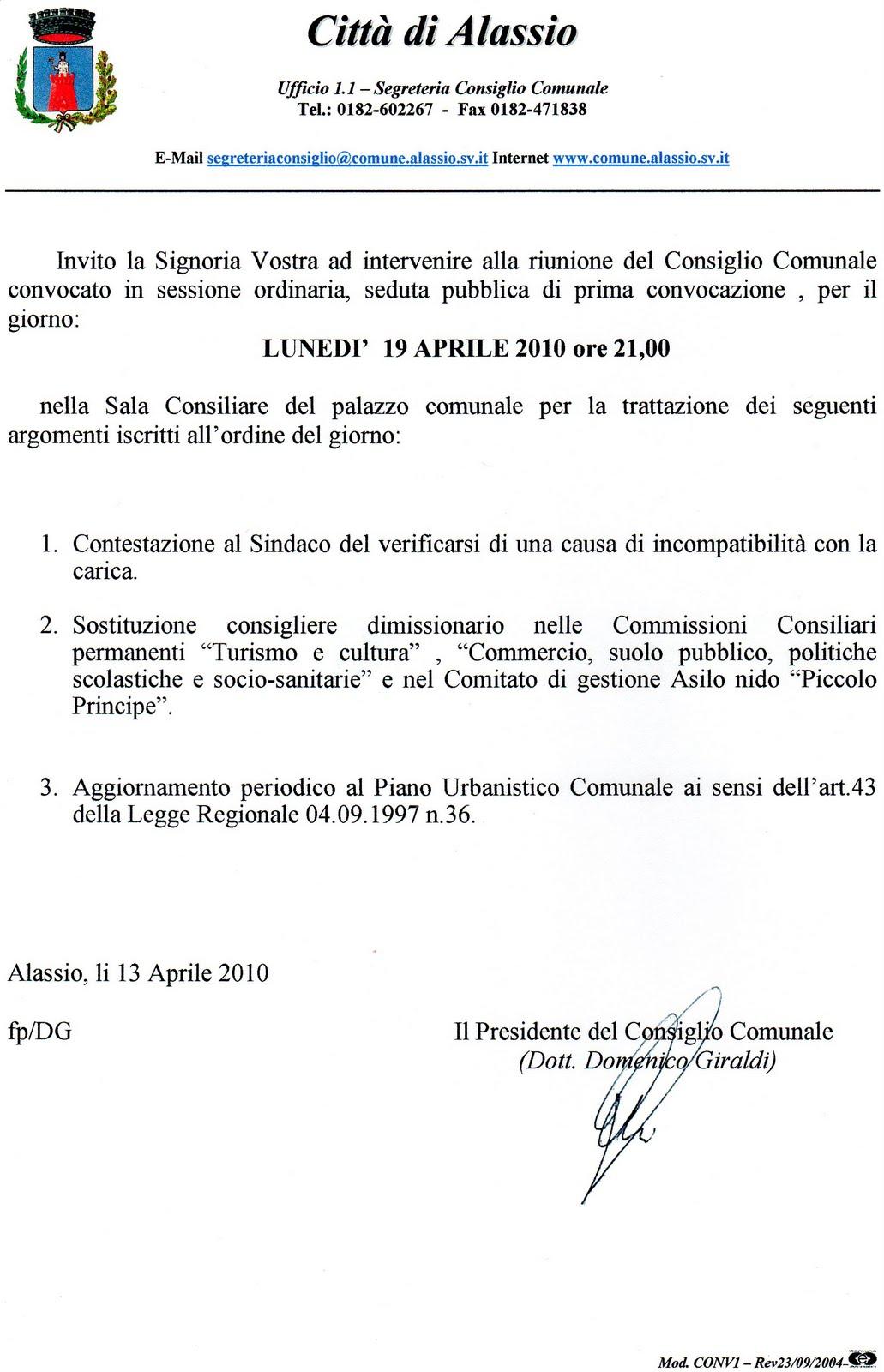 Alassiofutura alassio diretta consiglio comunale del 19 for Diretta da montecitorio