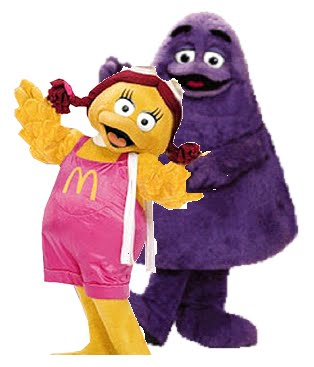 mascots: Grimace and Birdie, A FAT COUPLE WITH PASSION