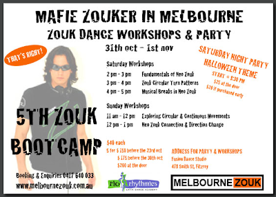 Mafie Zouker in Melbourne, Zouk Dance Workshops & Party - Melbourne - a Facebook Event supported by Rio Rhythmics and Melbourne Zouk