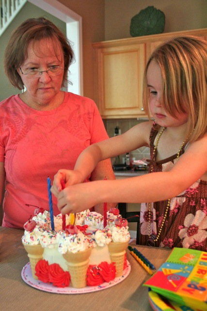 Gramma and Kenna get the cool Bruster's ice cream cake ready. Happy Birthday