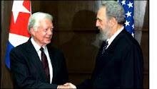 Fidel com Jimmy Carter, ex-presidente dos EUA, em visita à Cuba
