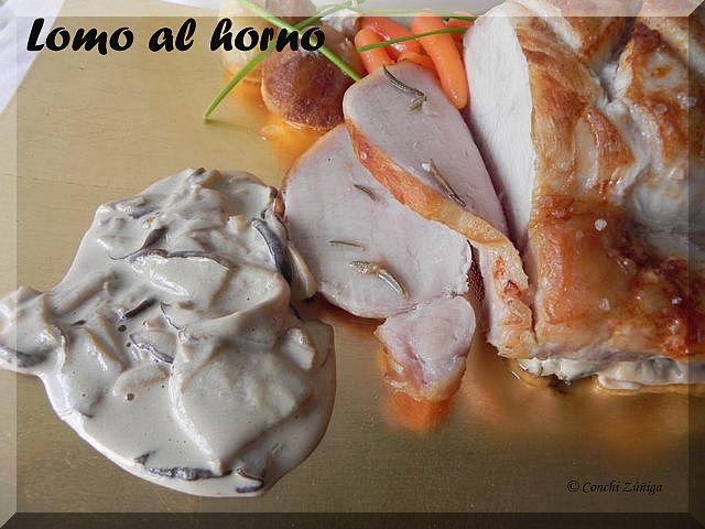 Cocinandosetas lomo al horno con salsa de setas for Cocinar cinta de lomo al horno