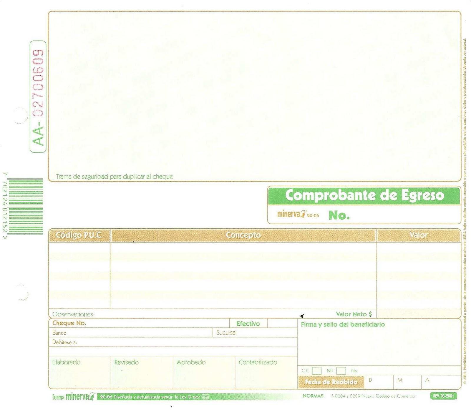 Soportes de Contabilidad: Comprobantes de Egreso (Cheque - Efectivo)