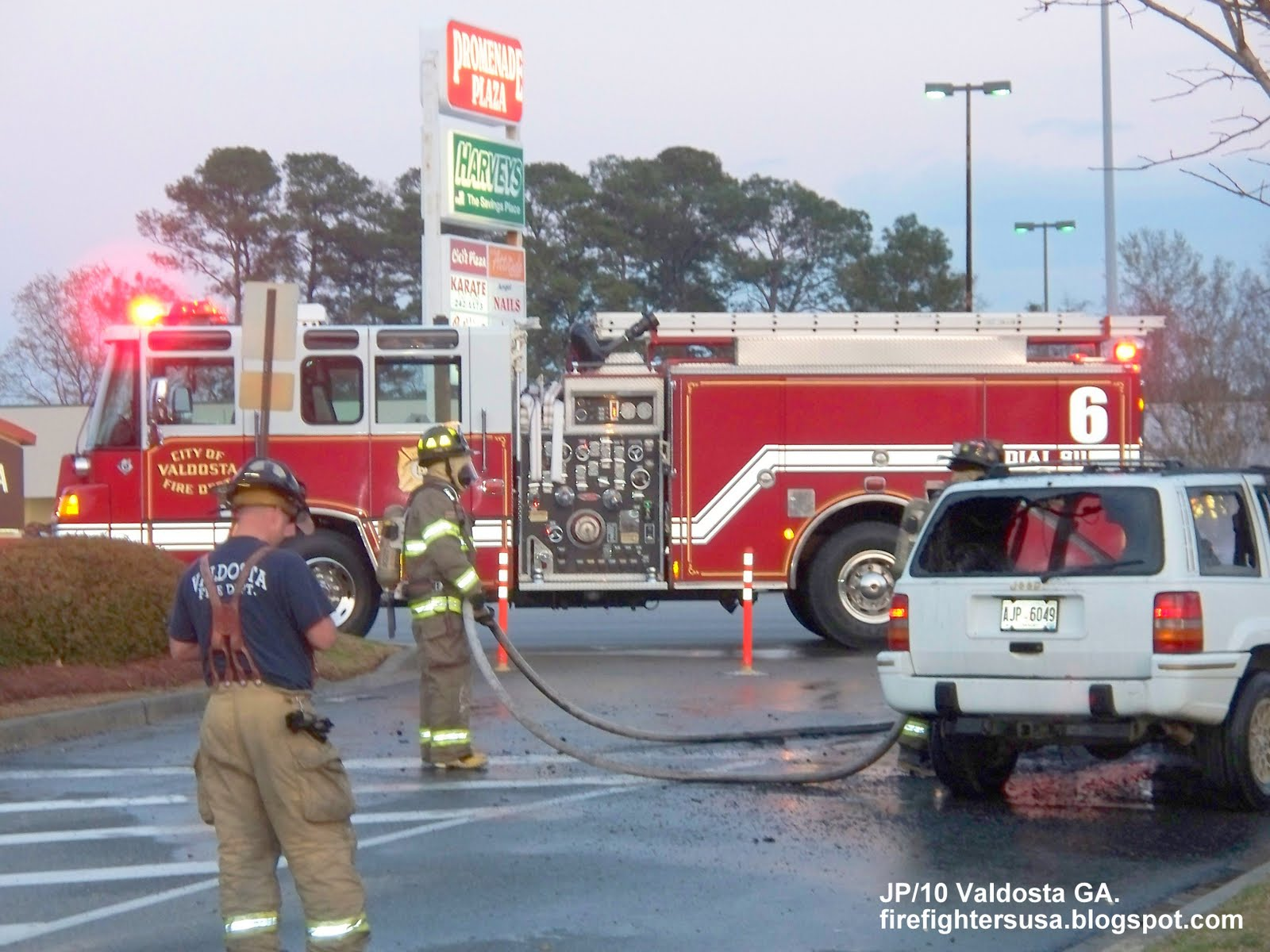 Georgia Fire Department truck Engine 6 on call, Valdosta Mall car fire