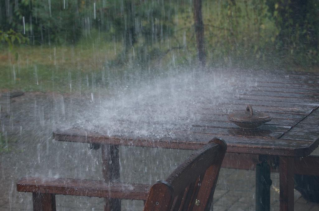 Vesi tulee rännien yli