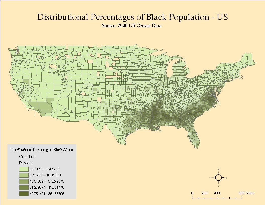 this map depicts the black alone us population as reported during the us census of 2000 it is interesting to note that the highest concentrations of