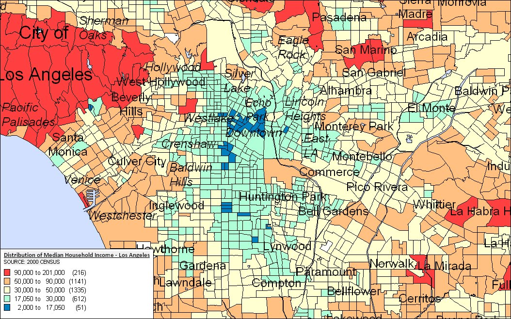 Income Map Los Angeles  Indiana Map