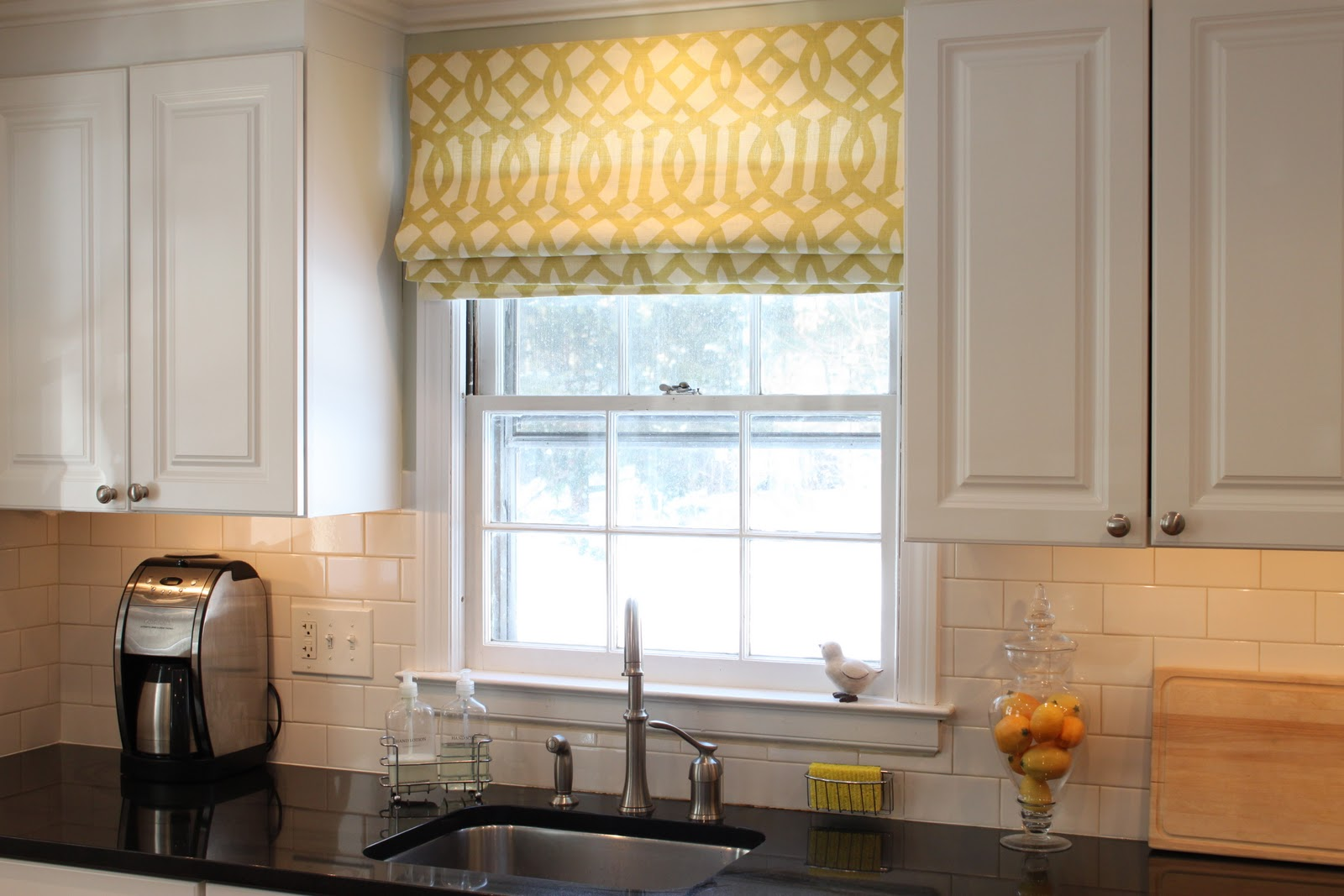 kitchen window treatments roman shades