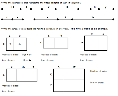 math worksheet : box method area model for the distributive property  algebra one blog : Distributive Property Of Multiplication Worksheets