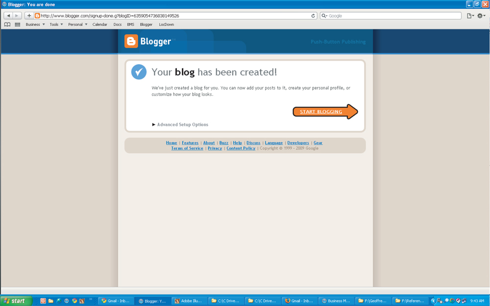Step #7 - Click Start Blogging