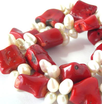 Bright red bamboo coral - if only I had known it would have been so hard to get really nice quality pieces - I would have bought a lot more!